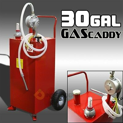 Pro 30 Gallon Gas Fuel Diesel Caddy Transfer Tank Container w/ Rotary Pump