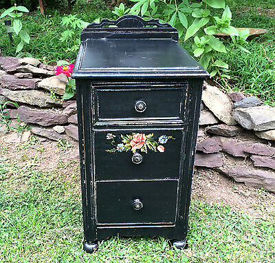 Chic Shabby Painted 3 Drawer Nightstand Hand Painted Flowers Paris Apt Romantic