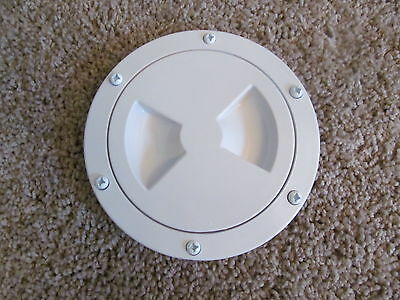 """Viking Marine Boat RV WHITE 4"""" Access Hatch Cover Twist Out Deck Plate Screws"""