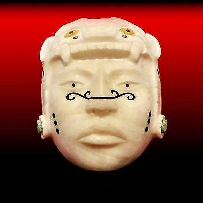 Mayan Hand Carved Alabaster Stone Jaguar Warrior Mask-Pre Columbian Style Statue