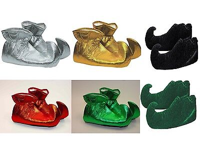 Cloth Elf Shoes (Choose Color) Green Red Gold Shiny Christmas Xmas Jester