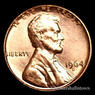 1964 D Lincoln Memorial Penny ~ Uncirculated Cent from Bank Roll