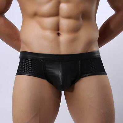Sexy Mens Imitation Leather Mesh Underwear Boxer Briefs Underpants Shorts Black
