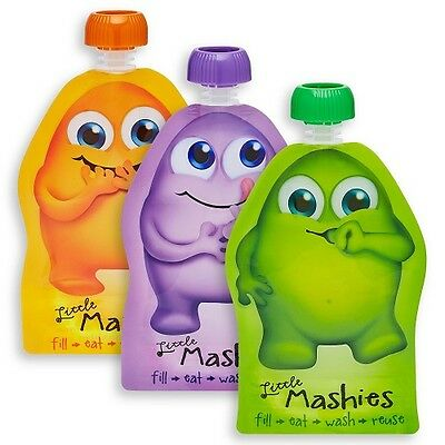 LITTLE MASHIES Reusable Squeeze Pouch - Mixed 10x130ml