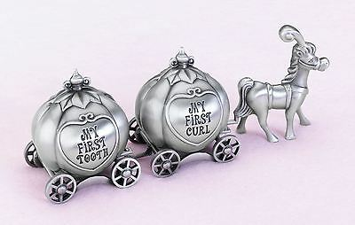 Fairy Tale Coach 1st Christening Keepsake First Baby Tooth & Curl Box Gift