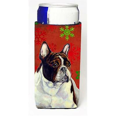 French Bulldog Red and Green Snowflakes Holiday Christmas Michelob Ultra s fo...