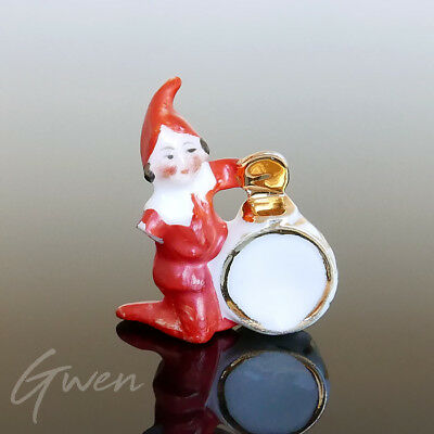 Feve ancienne Figurine Nain Lutin Gnome Musicien Biscuit Endommagé