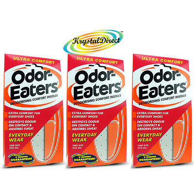 3x Odor Eaters Ultra Comfort Deodorising Insoles Trainer Shoe Odour Destroying