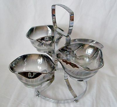 Vintage Retro Ombre Silver Fade Glass Bowls 5 Piece Dip Set w Metal Stand 1970's