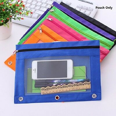2pcs Zippered Binder Pencil Pouch with Rivet Enforced Hole 3 Ring Pencil Case