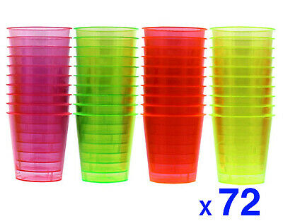 72 Disposable Plastic Neon Coloured Party Jelly Shot Glasses Cup