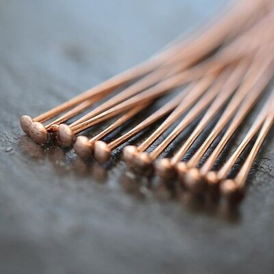 "Rose Gold Plated Headpins 2"" Flat End *high Quality Jewellery Making Findings"
