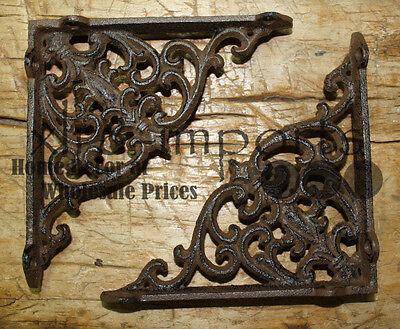 4 Cast Iron Antique Victorian Style Brackets, Garden Braces Shelf Bracket