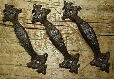 4 Large Cast Iron Antique Style FANCY Barn Handle Gate Pull Shed Door Handles #6