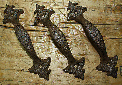 6 Large Cast Iron Antique Style FANCY Barn Handle Gate Pull Shed Door Handles #6