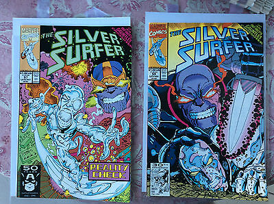 Silver Surfer (1987 Series).. #57 And #59.. Thanos, Infinity Gauntlet..near Mint