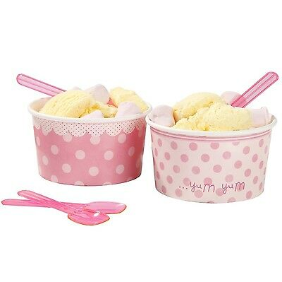 4 by 2-Inch Ice Cream Bowls with Plastic Spoons Mini Pink Set of 8