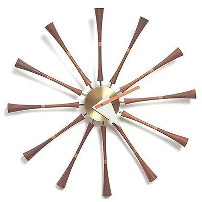 Control Brand George Nelson Spindle Wall Clock Dark Wood Natural/Silver