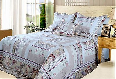 DaDa Bedding DXJ103112 Blossoming Cotton Patchwork 3-Piece Quilt Set Twin Ivory