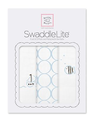 SwaddleDesigns SwaddleLite Boats and Fish Lite (Set of 3 in Blue)