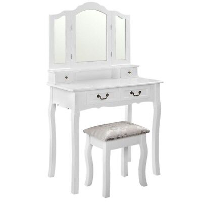 4 Drawer Beauty Make Up Stylish Dressing Table w Mirror and Stool WHITE
