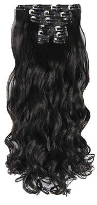 "20/22"" Clip in Hair Extensions CURLY Black #1b FULL HEAD 8pcs"