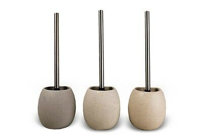 Stone Effect Ceramic Toilet Brush & Holder (Sand, White or Grey)