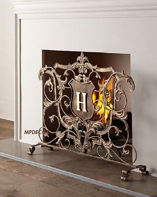 French Tuscan Fleur De Lis Monogram Shield Acanthus Leaf Fireplace Fire Screen