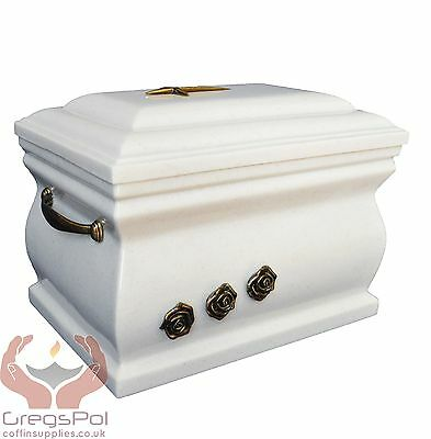 Composite Casket Cremation Ashes Urn For Adult With Brass Roses Funeral urn