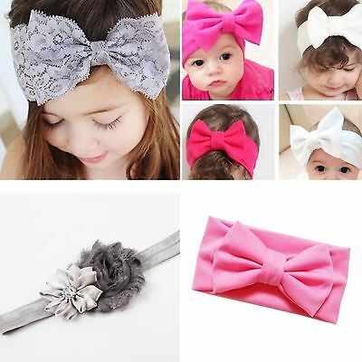 Girls headband large bow, lace, floral twist, flower, pink, grey, white