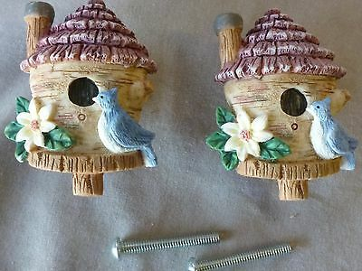 """Drawer pulls/knobs/  Cast Resin Tan  Bird House about 1 1/2"""" dia  (Set of 2)"""