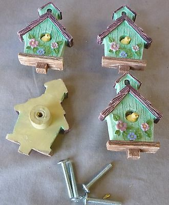 "Drawer pulls/knobs/  Cast Resin Green  Bird House about 1 1/2"" dia  (Set of 4)"