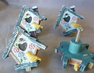 "Drawer pulls/knobs/  Cast Resin Blue  Bird House about 1 1/2"" dia  (Set of 4)"