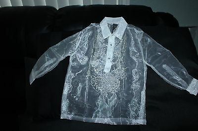Barong Tagalog For Boys Pina Design Size 10  May Fit To 6-7 Years Old Boys