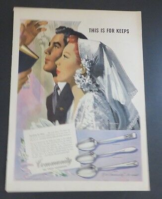 Advertising-print Original Print Ad 1946 Community Silverplate This Is For Keeps Jon Whitcomb Advertising