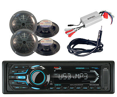 "Marine AM FM Bluetooth USB AUX Radio& Antenna,4 Black 5.25"" Speakers,Amplifier"