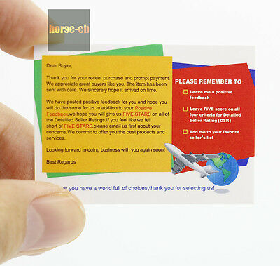 100 Pcs Thank You Business Cards For The Ebay Seller Reminder 5 Star 55MM*40MM