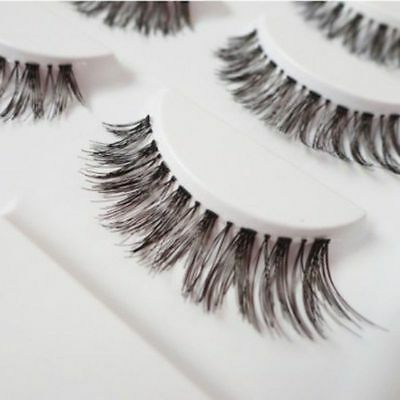 5 Paia Nero Ciglia Finte Manuale Naturali Lungo Intenso False Eyelashes Make Up