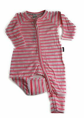 NWT Bonds Baby Girls Zippy Neon Fluro Pink Stripe Wondersuit Size 0000-2