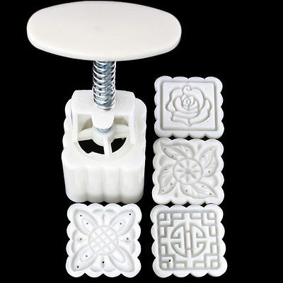 New Mooncake Moon Cake plunger Mold Cookie Cutter 50g Stamps Square Flower