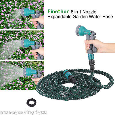 8 in 1 Nozzle Expandable Flexible Garden Water Hose Latex hose pipe Pump Black