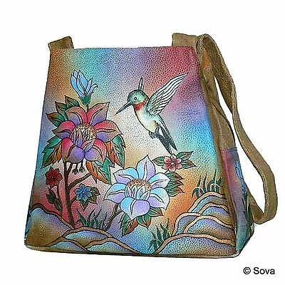 Sova Hand Painted Leather Tote Bag