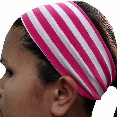 Pink White Striped Elastic Headband Hairband Gym Sweatband Alice Head Hair Band