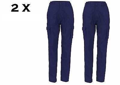 2 X Navy Ladies Cotton Drill Cargo Pants Dnc Workwear 3322