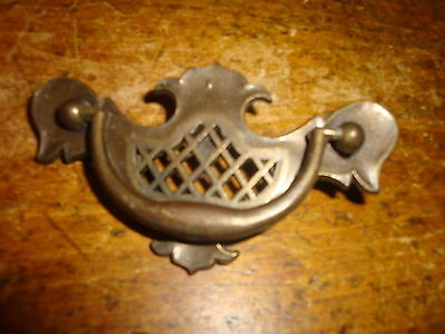 Vintage Ornate Brass Furniture Drawer Pull Handle Open Work