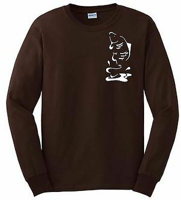 Long-Sleeve T-Shirt, Leaping Carp!  (Colour Chocolate Brown.)