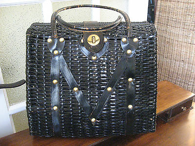 Vintage 40s Large woven Wicker Purse Leather Studs HandbagTote British Hong Kong