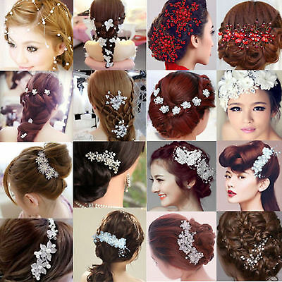 NY Bridal Wedding Flower Pearl Crystal Hair Comb Headband Accessories Headpiece