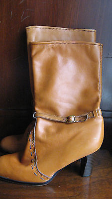 Vintage 70s 80s Brown Caramel Leather Stacked Heel Boots Hippie Boho Rock 8.5