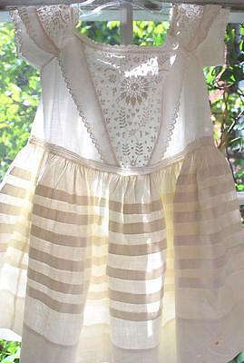 Victorian Girl Baby Embroidered Christening Gown W/pleats